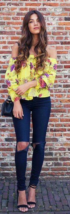 7185aac7641927 Floral Bright Yellow Blouse and some ripped jeans Off Shoulder Fashion, Off  Shoulder Outfits,