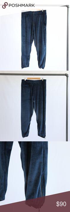 "Custom Navy Velour Sweatpants Elastic drawstring velour sweatpants. Cuffed elastic ankle with zipper details. Has pockets. 27"" inseam on pants. Waist is approx 36"" unstretched. Custom Pants Sweatpants & Joggers"