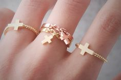 Cross Silver Chain Ring at Kellinsilver.com – Ring and chain, Pinky ring for men, Silver cross charms