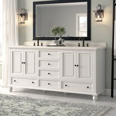 Gracie Oaks Samoset 72 Double Bathroom Vanity Base Only Master Bathroom Vanity, Master Bathrooms, French Bathroom, Bathroom Mirrors, Double Bathroom Vanities, Vintage Bathroom Vanities, Rustic Master Bathroom, Minimal Bathroom, Small Bathrooms
