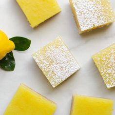 These vegan lemon bars have a simple shortbread crust and a tangy-sweet lemon layer topped with a dusting of powdered sugar. Vegan Snacks, Vegan Recipes, Vegan Food, Cooking Recipes, Potato Vegetable, Vegetable Recipes, Vegan Chocolate Chip Cookie Recipe, Veggie Quinoa Bowl, Vegan Lemon Bars