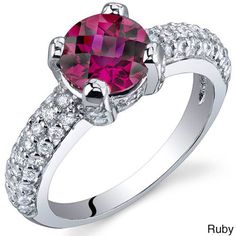 Oravo Sterling Silver Round Solitaire Gemstone Cubic Zirconia Ring (Ruby Size 9), Women's, Red