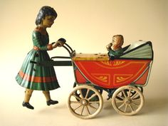 Guntherman Mother with Child, 1910, Germany tin litho pram or baby carriage