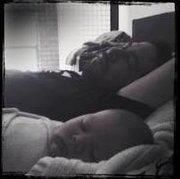 Mike Shinoda and his beautiful baby Otis sleeping ..... awwwwwww.....