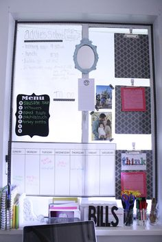 At home office organization with a WallPops dry-erase calendar decal The Sweet Stuff The Sweet Stuff