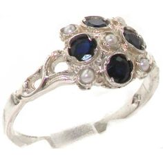 VINTAGE Design 925 Solid Sterling Silver Natural Sapphire & Pearl Cluster Ring dYazJmh9V