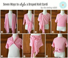 Draped Knit Cardi DIY – Styled 7 Ways directions for child's size but could be adult as well Sewing Shirts, Sewing Clothes, Sewing Projects For Kids, Sewing For Kids, Crochet Projects, Convertible Clothing, Diy Clothing, Refashion, Sewing Tutorials
