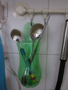 Plastic bottle eating utensil holder- It would be great for toothbrushes too.