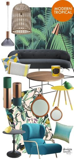 Interior decoration chic tropical style - Decoration and Fashion Interior Tropical, Design Tropical, Tropical Home Decor, Modern Tropical, Tropical Style, Tropical Houses, Tropical Furniture, Tropical Colors, Estilo Tropical