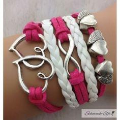 Armband Herzchen LOVE hot pink weiß  im Organza Beutel