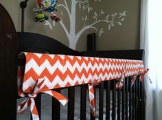 Crib Teething Rail Padded Cover with Fabric Ties by myfrecklesshop