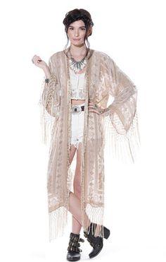 Moon Chaser Brocade Velvet Burnout Fringe Kimono - Beige - Saltwater Gypsy #saltwatergypsy #kimonos