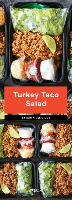 7 Easy Lunches That Prove Meal Prep Doesn't Have to Take Up Your Whole Sunday Turkey Taco Salad Consider this your excuse to celebrate Taco Tuesday all week. The genius here lies in those mini plastic containers you'd usually find ketchup in—buy a pack an Easy Meal Prep Lunches, Prepped Lunches, Easy Meals, Meal Prep Salads, Easy Lunches For Work, Easy Work Lunch Ideas, Healthy Meal Prep Lunches, Fit Meals, Dinners