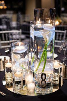 Ideas For Wedding Centerpieces Elegant Purple Sophisticated Bride Purple Wedding Centerpieces, Elegant Centerpieces, Wedding Table Decorations, Wedding Table Settings, Mirror Centerpiece, Wedding Chairs, Centrepieces, Trendy Wedding, Dream Wedding