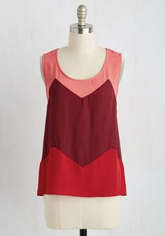 New Girl on the Colorblock Top. Greet the town with the brightness for which youre renowned in this breezy woven tank! #red #modcloth