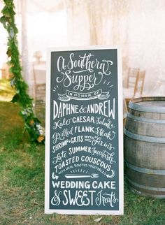 Let calligrapher Nichole Weinberg create a customized restaurant-style chalkboard menu for your big day. Each sign is designed using unique hand lettering and original artwork in chalk or paint. | Photo by Jodi Miller