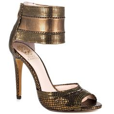 Celebrate The Year of The Snake with Jewelry, Shoes, and Accessories - Vince Camuto Latese Bronze Heeled Sandals #shoes