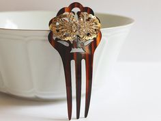 Art Nouveau Tortoise Shell Rhinestone Bridal Hair Comb