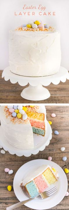 Easter Egg Layered Cake – A colorful vanilla cake topped with whipped buttercream and decorated with toasted coconut and mini Cadbury eggs. The perfect showstopper for your Easter celebration!
