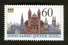 Speyer - Postal stamp commemorating 2000 years of Speyer Stamp World, German Stamps, Love Stamps, Germany Travel, Postage Stamps, Poster, Cathedrals, Heritage Site, Coins