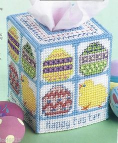 Happy Easter Tissue Box Cover Pattern Colorful Plastic Canvas Pattern | eBay