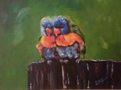"""Parrots On A Fence.  20""""X16"""" acrylic painting on a stretched canvas."""