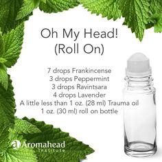 "Aromahead Institute, School of Essential Oil Studies 9 hrs · Frankincense comforts, Peppermint loves to relieve stress and Ravintsara clear the sinuses! With this ""Oh My Head"" roll on blend you'll feel the aww! Essential Oil Combos, Essential Oils For Pain, Essential Oil Diffuser Blends, Young Living Essential Oils, Ravintsara, Aromatherapy Recipes, Holistic Remedies, Natural Remedies, Diffuser Recipes"