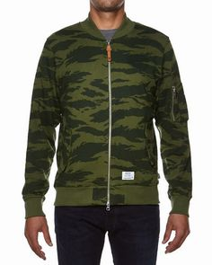 The Undefeated Terry Jacket Olive is a fine visual installment signed by the Los Angeles based brand. Camo, Bomber Jacket, My Style, Jackets, Fashion, Down Jackets, Fashion Styles, Bomber Jackets, Jacket
