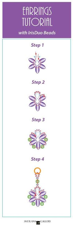 Earrings With IrisDuo Beads Free Beading Pattern Tutorial - Easy to follow diagrams - www.Svetlana.Gallery