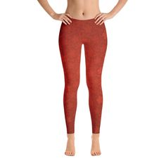 Red Floral Leggings