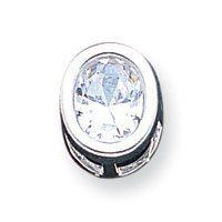 Sterling Silver Oval CZ Chain Slide - JewelryWeb JewelryWeb. $26.20. Save 50%!
