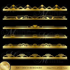 ART DECO BORDERS Metallic Gold Style Design Elements Digital Clipart Edges, Instant Download, Vintage Antique Clip Art