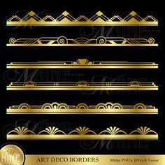 ART DECO BORDERS Metallic Gold Style Design Elements Digital Clipart Edges, Instant Download, Vintage Antique Clip Art
