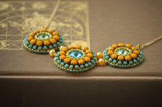 Lime&Lemon Bead Embroidery Necklace Svarowski by Rudasbeading