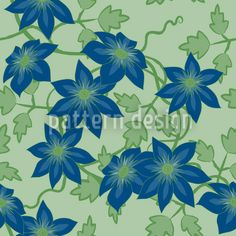 Clematis Dream Garden At Day by Martina Stadler available for download as a vector file on patterndesigns.com