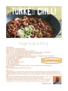 174725660513714458 Healthy Turkey Chilli recipe from Monica!     low fat easy weight watchers simple