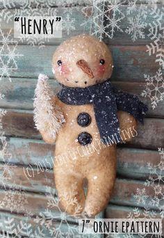 Henry Primitive Snowman Ornie Epattern / Pattern $7.50