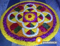 I love this pretty colorful onam pookalam! Diwali Decorations, Flower Decorations, Onam Greetings, Onam Pookalam Design, Onam Wishes, Onam Festival, Happy Onam, Rangoli Designs Flower, Indian Rangoli