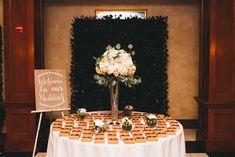 Wedding Favor Table // A Green & White Enchanted Garden Orlando Wedding via TheELD.com Wedding Favor Table, Wedding Favors For Guests, Wedding Table Numbers, Wedding Reception, Welcome To Our Wedding, On Your Wedding Day, Wedding Designs, Wedding Styles, My Wedding Planner