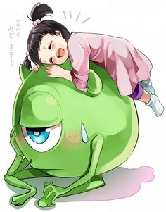 Boo and Mike from Monsters Inc. anime style. Adorable!!!