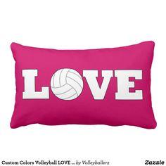7aaab9ff0dfa Custom Colors Volleyball LOVE Lumbar Pillow 🏐  zazzle  volleyball  pillows  Volleyball Bedroom