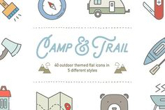 Camp & Trail Recreation Icons by Linseed Studio on @creativemarket