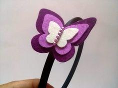 Púrpura mariposa cinta diadema de mariposa por FeltHairBoutique