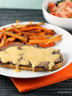Open Faced Roast Beef Sandwiches with Beer Cheese Sauce