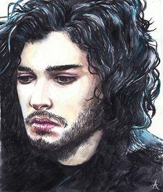 Watercolor painting of Jon Snow