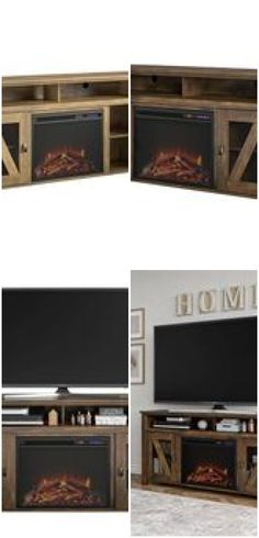 """48"""" Landson Fireplace TV Stand Rustic - Room & Joy ,  ,  #fireplace #Joy #Landson #Room #Rustic #stand Open Shelving, Shelves, Fireplace Tv Stand, Glass Furniture, Rustic Room, Reclaimed Barn Wood, Joy, Disappointment, Warehouse"""