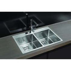 CHIUVETA DE BUCATARIE ALVEUS STYLUX 30 cu 2 CUVE MONTAJ LA NIVELUL BLATULUI ,POP-UP, INOX - Iak Kitchen Sink Taps, Inset Sink, Ceramic Sink, Stainless Steel Sinks, Pop Up, Restaurant, Modern, Kitchens, Home Decor