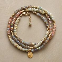 """WARM GLOW BRACELET -- A unique three wrap bracelet, in which labradorite, sunstone, brass and subtly iridescent mystic aquamarine circle your wrist while an 18kt gold vermeil disk, sparked with topaz, shines like the sun. 14kt gold-filled clasp. USA. Exclusive. Fits 6"""" to 7"""" wrists..polishingCloth {display:none"""