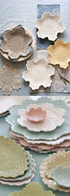 Make your own lace pottery - house decorations - Basteln - Keramik - Beton - DIY - Craft Diy Clay, Clay Crafts, Diy And Crafts, Arts And Crafts, Decor Crafts, Make Your Own Pottery, Pottery Making, Diy Y Manualidades, Pottery Houses