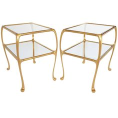 Pair of Gaudi / Art Nouveau inspired brass two-tier end tables. Inset glass top and lower shelf. Lower tier measures H. Consider using as end tables or pair of nightstands. Low Shelves, Shelf, Brass Side Table, Modern End Tables, End Table Sets, Pink Walls, Gaudi, Table Furniture, Art Nouveau